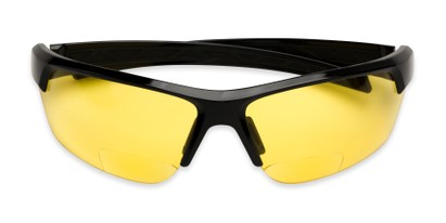 Folded of The Cannon Yellow Lens Bifocal Safety Reader in Black with Yellow Lenses