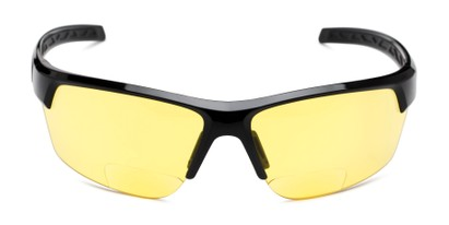 Front of The Cannon Yellow Lens Bifocal Safety Reader in Black with Yellow Lenses