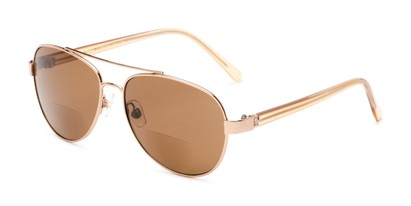 Angle of The Carmen Sun in Bronze, Women's Aviator Reading Sunglasses