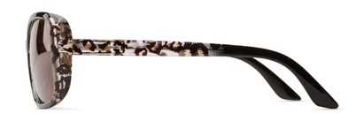 Side of The Cassia Bifocal Reading Sunglasses in Brown Leopard with Amber