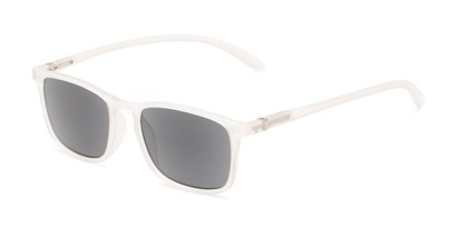 Angle of The Cassian Reading Sunglasses in Matte Clear/ Smoke, Men's Square Reading Sunglasses