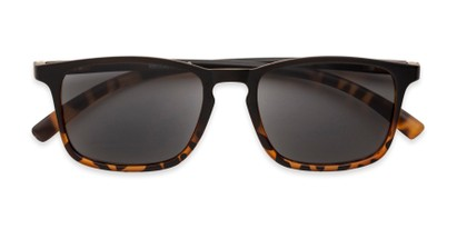 Folded of The Cassian Reading Sunglasses in Matte Black & Brown Tortoise/ Smoke