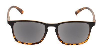 Front of The Cassian Reading Sunglasses in Matte Black & Brown Tortoise/ Smoke