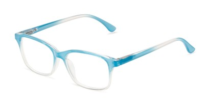 Angle of The Cassidy in Light Blue Fade, Women's Retro Square Reading Glasses