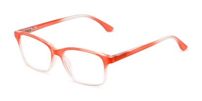 Angle of The Cassidy in Coral Pink Fade, Women's Retro Square Reading Glasses