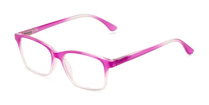 Angle of The Cassidy in Berry Pink Fade, Women's Retro Square Reading Glasses