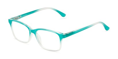 Angle of The Cassidy in Jade Green Fade, Women's Retro Square Reading Glasses