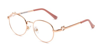 Angle of The Celebration in Rose Gold, Women's Round Reading Glasses
