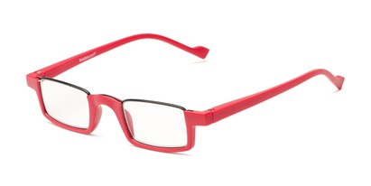 Angle of The Chesire in Matte Red, Women's and Men's Rectangle Reading Glasses