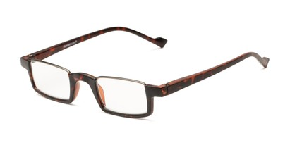 Angle of The Chesire in Matte Tortoise/Black, Women's and Men's Rectangle Reading Glasses