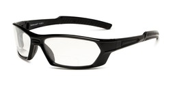Angle of The Clear Bifocal Safety Goggles in Black with Clear Lenses, Women's and Men's Sport & Wrap-Around Reading Glasses