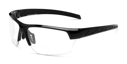 Angle of The Clear Bifocal Safety Reader in Black with Clear Lenses, Women's and Men's Sport & Wrap-Around Reading Glasses