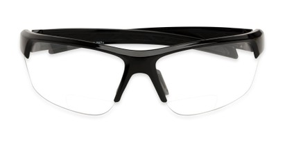 Folded of The Clear Bifocal Safety Reader in Black with Clear Lenses