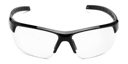 Front of The Clear Bifocal Safety Reader in Black with Clear Lenses