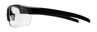 Side of The Clear Bifocal Safety Reader in Black with Clear Lenses