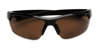 Folded of The Cloud Bifocal Safety Reader in Black with Amber Lens