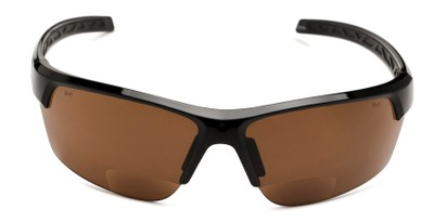 Front of The Cloud Bifocal Safety Reader in Black with Amber Lens