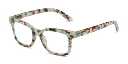 Angle of The Collegiate in Green Tortoise, Women's and Men's Retro Square Reading Glasses