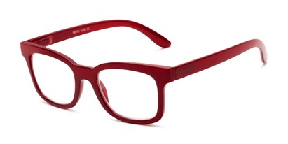 Angle of The Collegiate in Dark Red, Women's and Men's Retro Square Reading Glasses