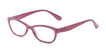 Angle of The Coraline in Mauve Pink, Women's Cat Eye Reading Glasses