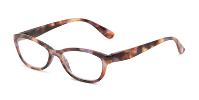 Angle of The Coraline in Purple Tortoise, Women's Cat Eye Reading Glasses