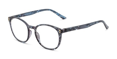 Angle of The Darcy in Blue Stripe, Women's Round Reading Glasses