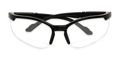 Folded of The David Bifocal Safety Glasses in Black with Clear Lenses