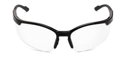 Front of The David Bifocal Safety Glasses in Black with Clear Lenses