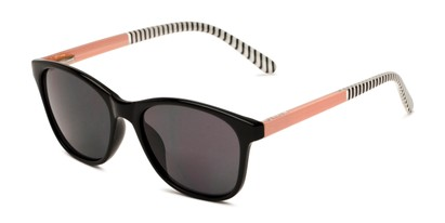 Angle of The Delilah Reading Sunglasses in Black with Pink & Stripes / Smoke, Women's Square Reading Sunglasses