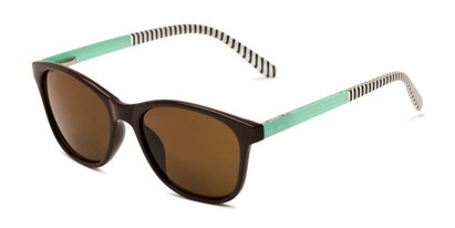 Angle of The Delilah Reading Sunglasses in Brown with Mint & Stripes / Amber, Women's Square Reading Sunglasses