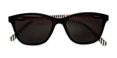 Folded of The Delilah Reading Sunglasses in Black with Pink & Stripes / Smoke