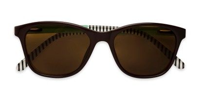Folded of The Delilah Reading Sunglasses in Brown with Mint & Stripes / Amber