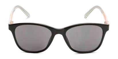 Front of The Delilah Reading Sunglasses in Black with Pink & Stripes / Smoke