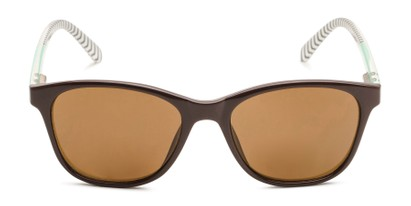 Front of The Delilah Reading Sunglasses in Brown with Mint & Stripes / Amber