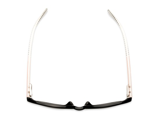 Overhead of The Delilah Reading Sunglasses in Black with Pink & Stripes / Smoke