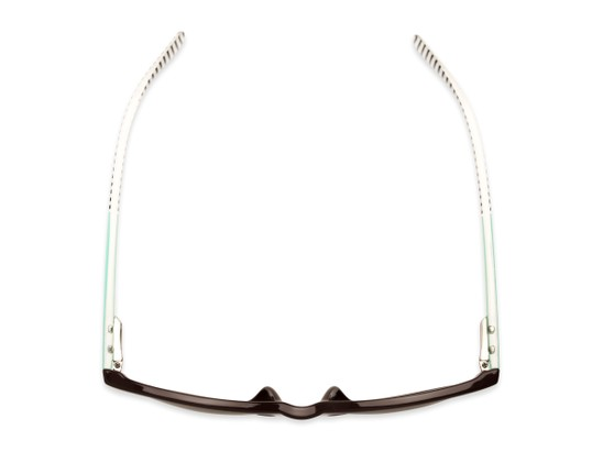 Overhead of The Delilah Reading Sunglasses in Brown with Mint & Stripes / Amber