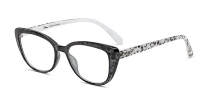 Angle of The Dreamer in Black/Crystal, Mickey Mouse Print, Women's Cat Eye Reading Glasses