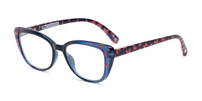 Angle of The Dreamer in Navy Blue/Red, Minnie Mouse Print, Women's Cat Eye Reading Glasses