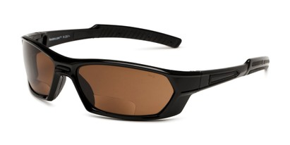Angle of The Driving Bifocal Safety Goggles in Black with Amber Driving Lenses, Women's and Men's Sport & Wrap-Around Reading Sunglasses