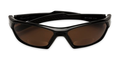 Folded of The Driving Bifocal Safety Goggles in Black with Amber Driving Lenses