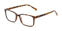 Angle of The Edward Blue Light Reader in Tortoise, Men's Rectangle Computer Glasses