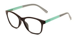 Angle of The Eloise in Brown with Mint & Stripes, Women's Square Reading Glasses