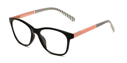 Angle of The Eloise in Black with Pink & Stripes, Women's Square Reading Glasses