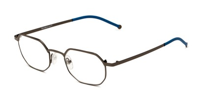 Angle of The Euston in Grey/Navy Blue, Women's and Men's Round Reading Glasses
