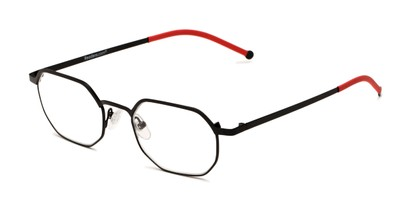 Angle of The Euston in Black/Red, Women's and Men's Round Reading Glasses