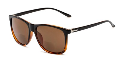 Angle of The Everett Bifocal Reading Sunglasses in Black/Brown Tortoise with Amber, Men's Square Reading Sunglasses
