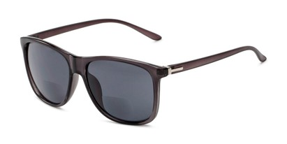 Angle of The Everett Bifocal Reading Sunglasses in Dark Grey with Smoke, Men's Square Reading Sunglasses