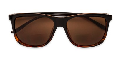 Folded of The Everett Bifocal Reading Sunglasses in Black/Brown Tortoise with Amber