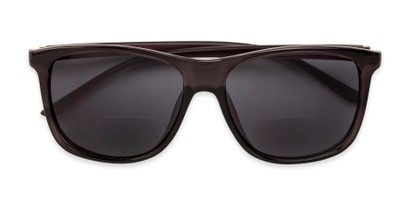 Folded of The Everett Bifocal Reading Sunglasses in Dark Grey with Smoke