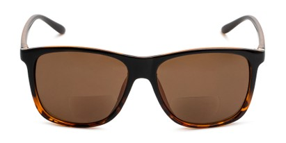 Front of The Everett Bifocal Reading Sunglasses in Black/Brown Tortoise with Amber